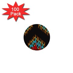 Blue, Gold, and Red Pattern 1  Mini Buttons (100 pack)