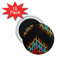 Blue, Gold, and Red Pattern 1.75  Magnets (10 pack)