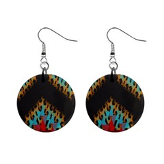 Blue, Gold, And Red Pattern Mini Button Earrings