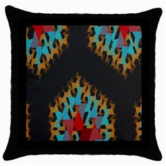 Blue, Gold, and Red Pattern Throw Pillow Cases (Black)
