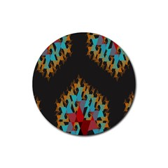 Blue, Gold, And Red Pattern Rubber Round Coaster (4 Pack)