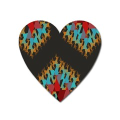 Blue, Gold, and Red Pattern Heart Magnet