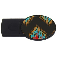 Blue, Gold, and Red Pattern USB Flash Drive Oval (1 GB)