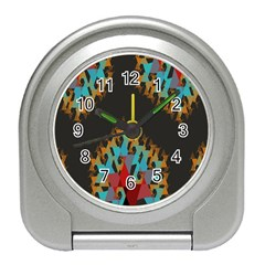 Blue, Gold, and Red Pattern Travel Alarm Clocks