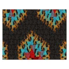 Blue, Gold, and Red Pattern Rectangular Jigsaw Puzzl