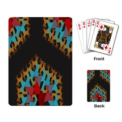 Blue, Gold, and Red Pattern Playing Card