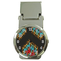 Blue, Gold, and Red Pattern Money Clip Watches