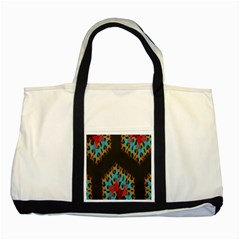 Blue, Gold, And Red Pattern Two Tone Tote Bag