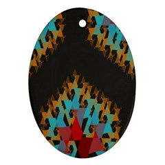 Blue, Gold, and Red Pattern Oval Ornament (Two Sides)
