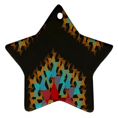 Blue, Gold, And Red Pattern Star Ornament (two Sides)