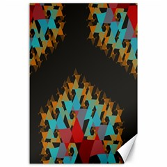 Blue, Gold, And Red Pattern Canvas 24  X 36