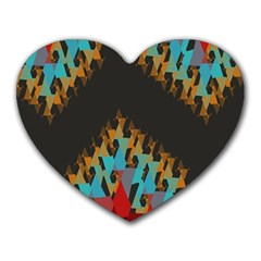Blue, Gold, and Red Pattern Heart Mousepads