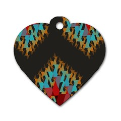 Blue, Gold, and Red Pattern Dog Tag Heart (Two Sides)