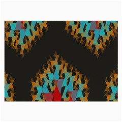 Blue, Gold, And Red Pattern Large Glasses Cloth (2 Side)