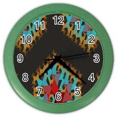 Blue, Gold, And Red Pattern Color Wall Clocks