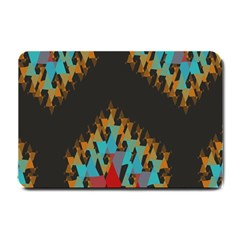 Blue, Gold, and Red Pattern Small Doormat
