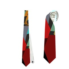 Blue, Gold, and Red Pattern Neckties (One Side)