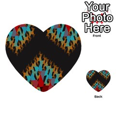 Blue, Gold, and Red Pattern Multi-purpose Cards (Heart)