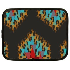 Blue, Gold, and Red Pattern Netbook Case (Large)