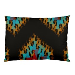 Blue, Gold, And Red Pattern Pillow Cases