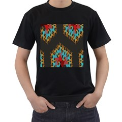 Blue, Gold, and Red Pattern Men s T-Shirt (Black)