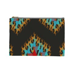 Blue, Gold, And Red Pattern Cosmetic Bag (large)