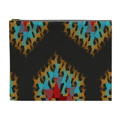 Blue, Gold, and Red Pattern Cosmetic Bag (XL)