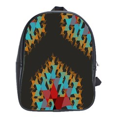 Blue, Gold, And Red Pattern School Bags(large)