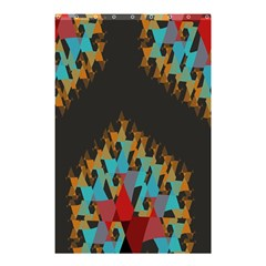 Blue, Gold, and Red Pattern Shower Curtain 48  x 72  (Small)