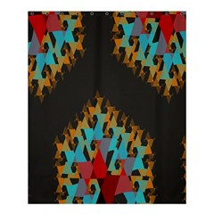 Blue, Gold, and Red Pattern Shower Curtain 60  x 72  (Medium)