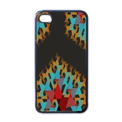 Blue, Gold, and Red Pattern Apple iPhone 4 Case (Black)