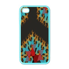 Blue, Gold, And Red Pattern Apple Iphone 4 Case (color)