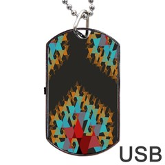 Blue, Gold, and Red Pattern Dog Tag USB Flash (One Side)