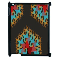 Blue, Gold, and Red Pattern Apple iPad 2 Case (Black)