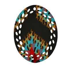 Blue, Gold, And Red Pattern Oval Filigree Ornament (2 Side)