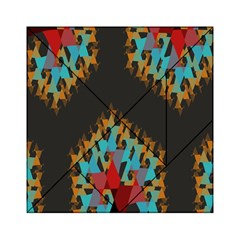 Blue, Gold, and Red Pattern Acrylic Tangram Puzzle (6  x 6 )