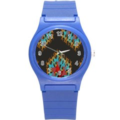 Blue, Gold, and Red Pattern Round Plastic Sport Watch (S)