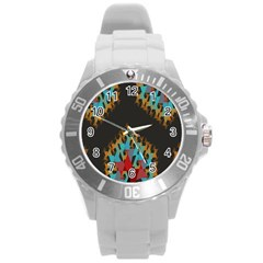Blue, Gold, and Red Pattern Round Plastic Sport Watch (L)