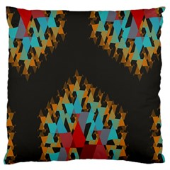 Blue, Gold, and Red Pattern Large Cushion Cases (One Side)