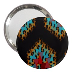 Blue, Gold, And Red Pattern 3  Handbag Mirrors