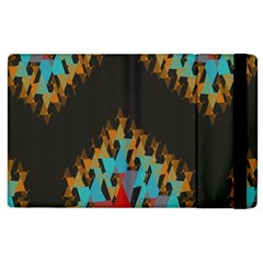 Blue, Gold, and Red Pattern Apple iPad 3/4 Flip Case