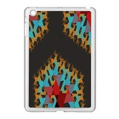 Blue, Gold, and Red Pattern Apple iPad Mini Case (White)