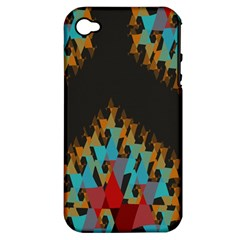 Blue, Gold, and Red Pattern Apple iPhone 4/4S Hardshell Case (PC+Silicone)