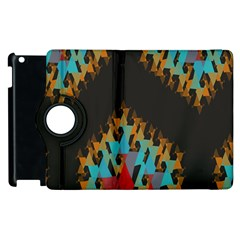 Blue, Gold, and Red Pattern Apple iPad 2 Flip 360 Case