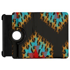 Blue, Gold, And Red Pattern Kindle Fire Hd Flip 360 Case