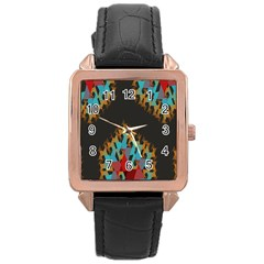 Blue, Gold, And Red Pattern Rose Gold Watches