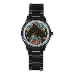 Blue, Gold, and Red Pattern Stainless Steel Round Watches