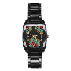 Blue, Gold, and Red Pattern Stainless Steel Barrel Watch