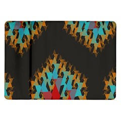 Blue, Gold, and Red Pattern Samsung Galaxy Tab 10.1  P7500 Flip Case