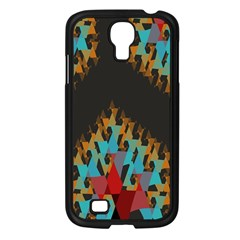 Blue, Gold, and Red Pattern Samsung Galaxy S4 I9500/ I9505 Case (Black)